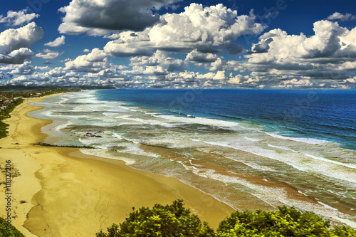 Poster Afrique du Sud South Africa. Western Cape Province. Long sand beach and lagoon of Wilderness (Wildernis in Africaans) - seaside town on the Garden Route