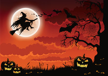 Halloween Scene With Pumpkins, Bats And A Wicked Witch Flying On Her Broomstick.