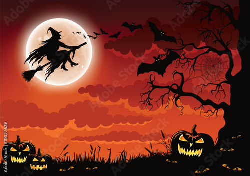 Spoed Fotobehang Halloween Halloween scene with pumpkins, bats and a wicked witch flying on her broomstick.