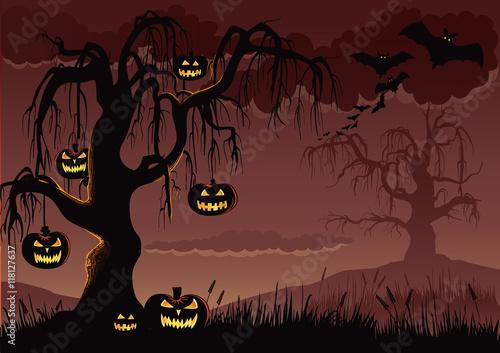 Spoed Fotobehang Halloween Halloween Pumpkin Tree Background