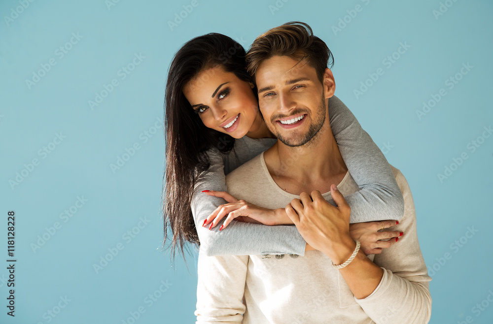 Fototapety, obrazy: Portrait of smiling beautiful couple