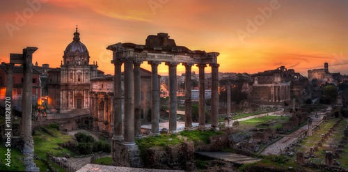 Canvas Print Sunrise at Forum Roman, Rome, Italy, Europe