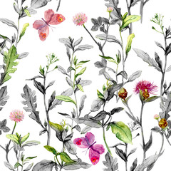 Fototapeta Malarstwo Meadow flowers. Seamless herbal background in black-white colors. Watercolor