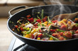 canvas print picture - steaming mixed vegetables in the wok, asian style cooking