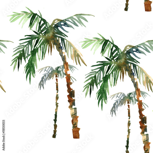 watercolor palm pattern Wall mural