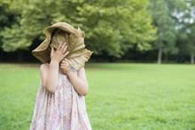 大きな木のはで顔を隠す女の子