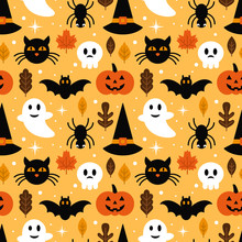 Halloween Seamless Pattern Design With Ghost, Skull, Pumpkin And