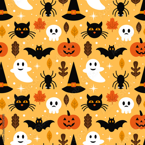 Cotton fabric Halloween seamless pattern design with ghost, skull, pumpkin and