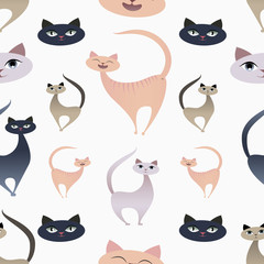 Funny cat expresions. Pattern seamless.