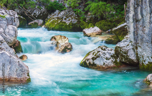 Printed kitchen splashbacks River Beautiful turquoise river in the Triglav National Park in Slovenia
