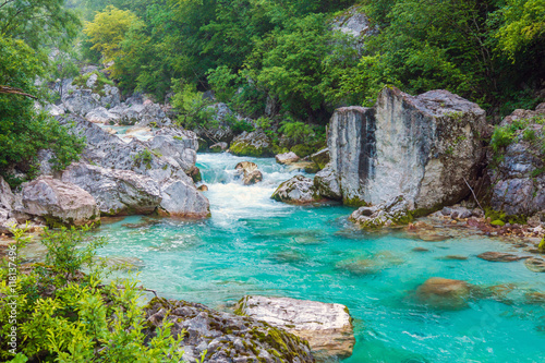 Foto op Canvas Rivier Beautiful turquoise river in the Triglav National Park in Slovenia
