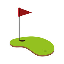 Flat Design Golf Hole Icon Vector Illustration