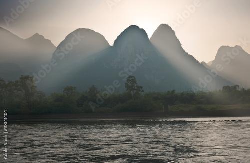 Karst mountains along the Li river near Yangshuo, Guangxi provin Canvas Print