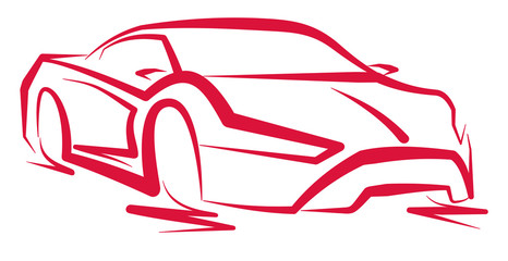FototapetaCzerwony samochód sportowy