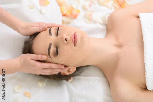 Fotografie, Tablou  Pretty girl relaxing at beauty salon