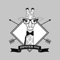 NaklejkaGiraffe glasses frame arrow animal hipster style retro fashion icon. Black white grey illustration