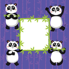 Fototapeta cute pandas and bamboo. Vector illustration