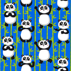 Fototapeta Seamless pattern . cute pandas and bamboo. Vector illustration