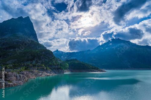 Poster Reflexion Lake Emosson and Grand Perron mountain peak seen near Finhaut, Switzerland