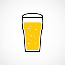 Pint Of Lager Beer. Vector Icon