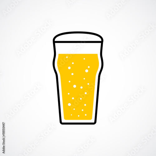 Pint of lager beer. Vector icon Canvas Print