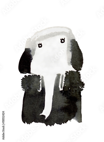 Fotografering  high society : black and white elephant with watercolor painting