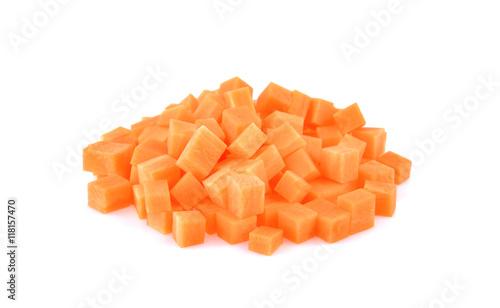 vegetable staple  carrot cube on white background