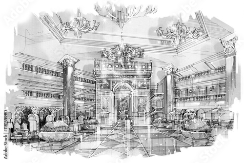 sketch perspective stripes lobby, black and white interior ...