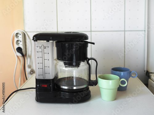 Photo Coffee Maker And Mugs