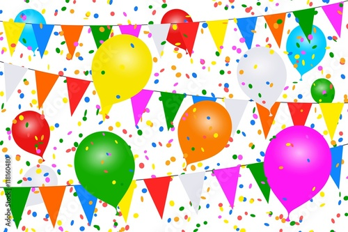 Valokuva  Vol de ballons colorés. Guirlandes, confettis