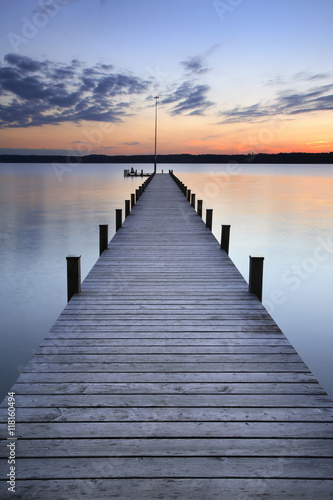 Foto auf Acrylglas Bestsellers Lake at Sunset, Long Wooden Pier