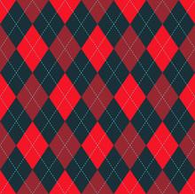 Seamless Argyle Pattern In Bright Red, Dark Claret Red And Dark Gray With Blue Stitch.