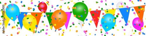 Bannière ballons colorés. Guirlandes, confettis Canvas-taulu