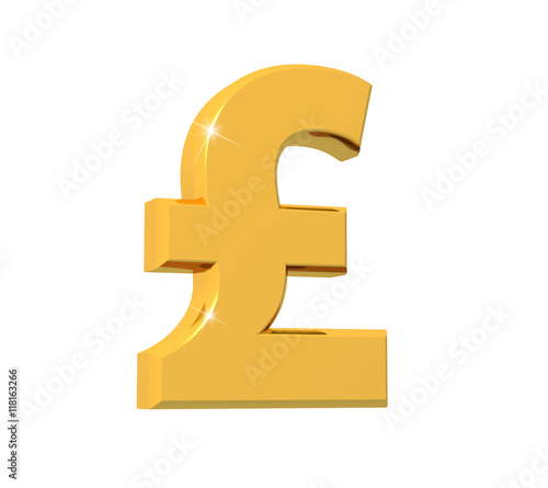 3d Rendering Of Sterling Pound Symbol Made Of Sparkling Gold With