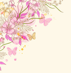 Fototapeta Motyle Abstract floral background