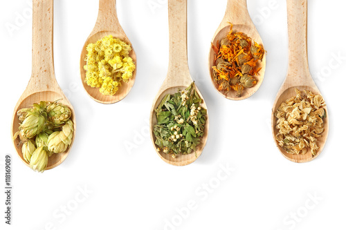 Natural flower and herb selection in wooden spoons isolated on white