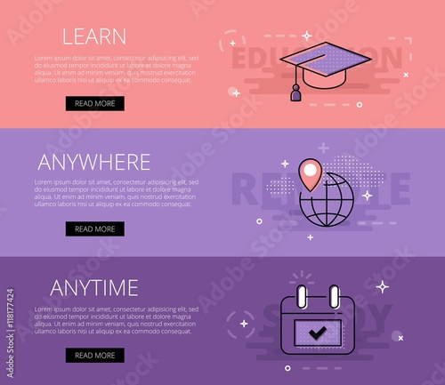 Learn Anywhere Anytime. Vector banners template set Wallpaper Mural