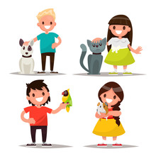 Set Of Characters. Children With Pets. Vector Illustration