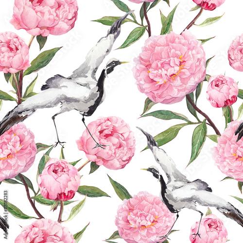 dzwigowe-ptaki-tancza-kwiaty-piwonii-kwiatowy-powtarzalny-wzor-azjatycki