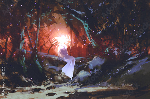 Valokuva  spirit of the enchanted forest,woman in the dark woods,illustration painting