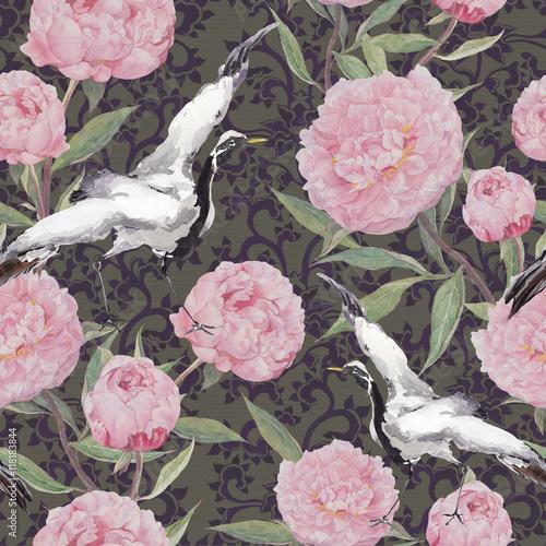 ptaki-zurawia-kwiaty-piwonii-kwiatowy-powtarzajacy-sie-etniczny-wzor-akwarela