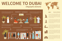 Welcome To Dubai Infographic Flat Vector Illustration. Presentation Concept
