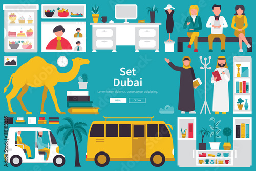 Photo  Dubai Big Collection in flat design concept