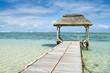 Wooden pier in Bel Ombre beach, Mauritius island