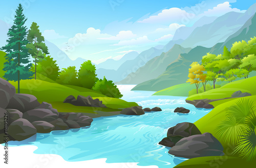 Fotografie, Obraz  Blue river flowing across green forest