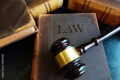 Legal book and gavel Canvas Print