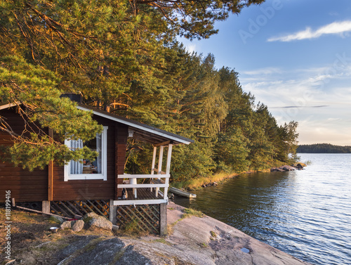 Slika na platnu Idyllic cottage next to the Baltic Sea