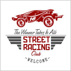 Fototapeta Sport Street Racing club badge and design elements.