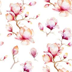 Fototapeta Egzotyczne Watercolor seamless wallpaper with magnolia flowers, leaves.