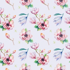 Panel Szklany Egzotyczne Watercolor seamless wallpaper with magnolia flowers, leaves.